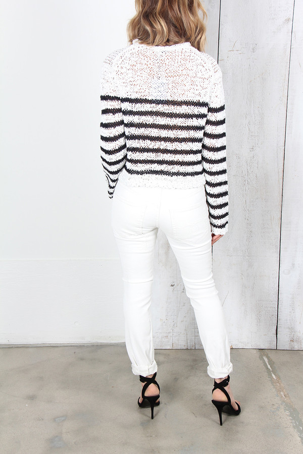 ALEXANDER WANG RAW EDGE KNITTED CROP PULLOVER