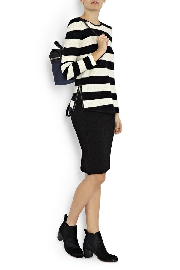 Rodebjer Mandi Black Embossed Pencil Skirt