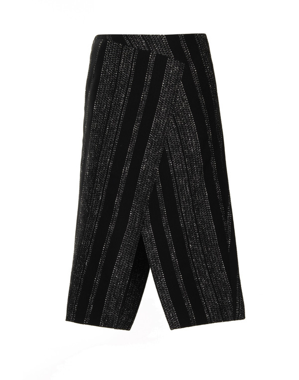 Apiece Apart Livia Blanket Slit Skirt in Black Lezat Stripe