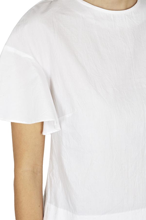 Apiece Apart White Serra Ruffle-Sleeve Top