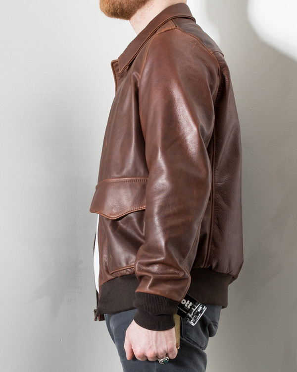 Men's Schott Waxed Pebbled Cowhide A-2 Leather Flight Jacket