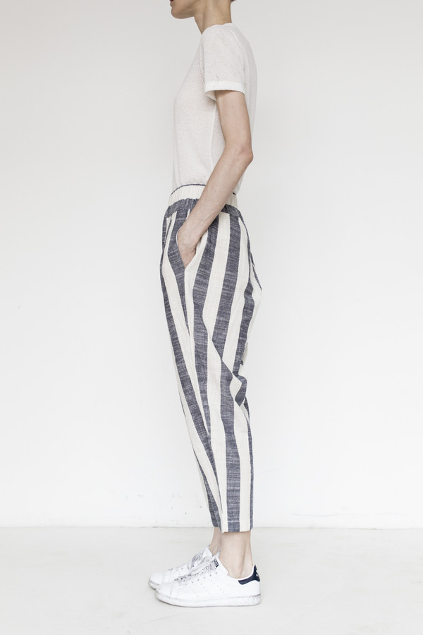 Black Crane Linen Carpenter Pant - Fat Stripe
