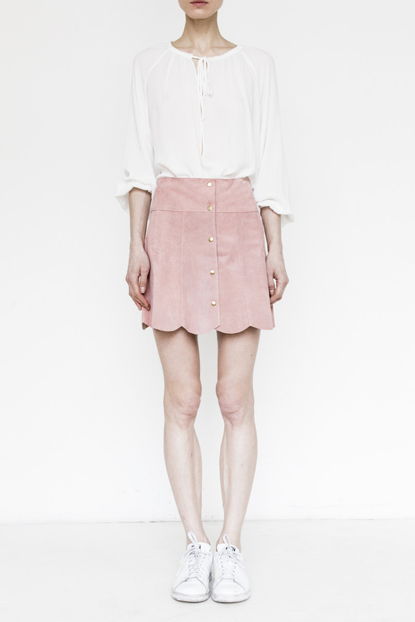 Stoned Immaculate Suede Marsha Skirt - Rose