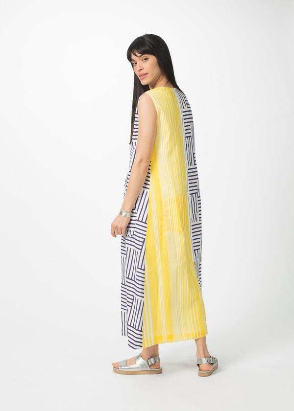 Harvey Faircloth Block Pattern Caftan Dress