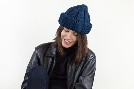 Clyde Arp Knit Hat in Navy