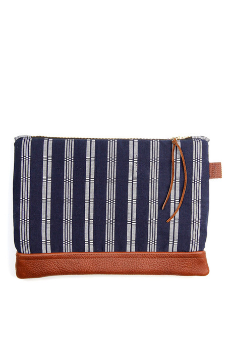 Kiriko Shuri-Ori Leather Clutch Navy Stripe