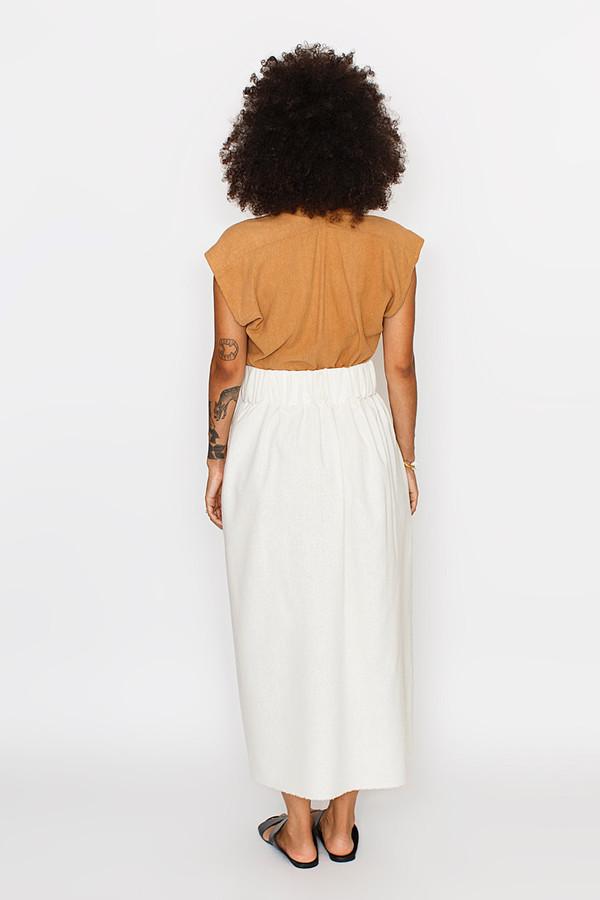 Miranda Bennett Paper Bag Skirt, Silk Noil in Natural