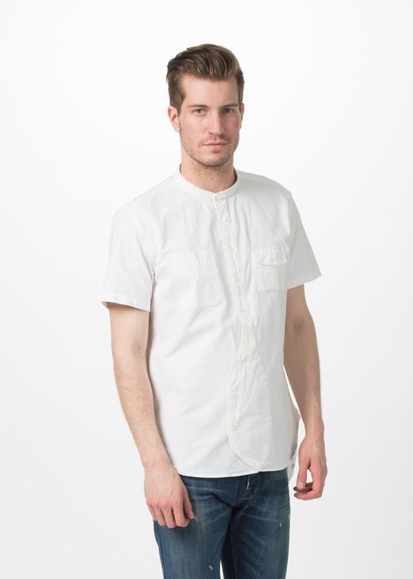 Men's Wooster + Lardini Short Sleeve Banded Collar Shirt