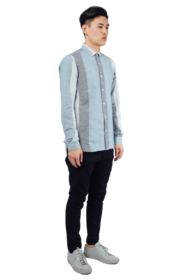 Men's YMC Jan and Dean Wide Stripe Shirt Blue