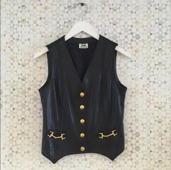 Maggie Savage Celine Black Leather Vest