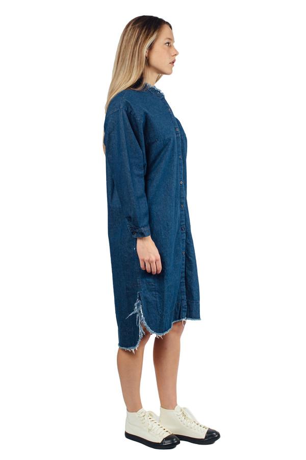 WU+SEN Solit Denim Raw Hem Shirt Dress