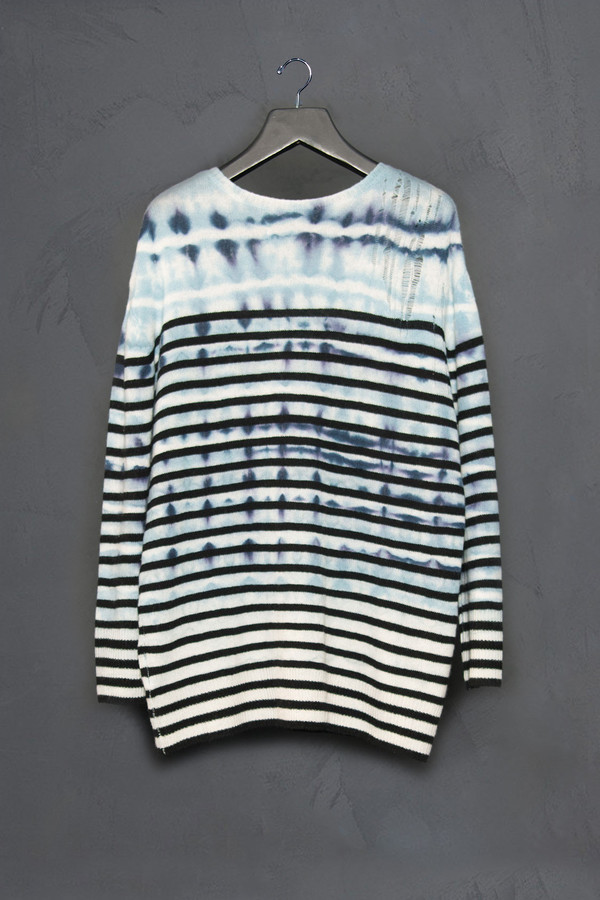 Raquel Allegra Shredded Shoulder Stripe Pull Over