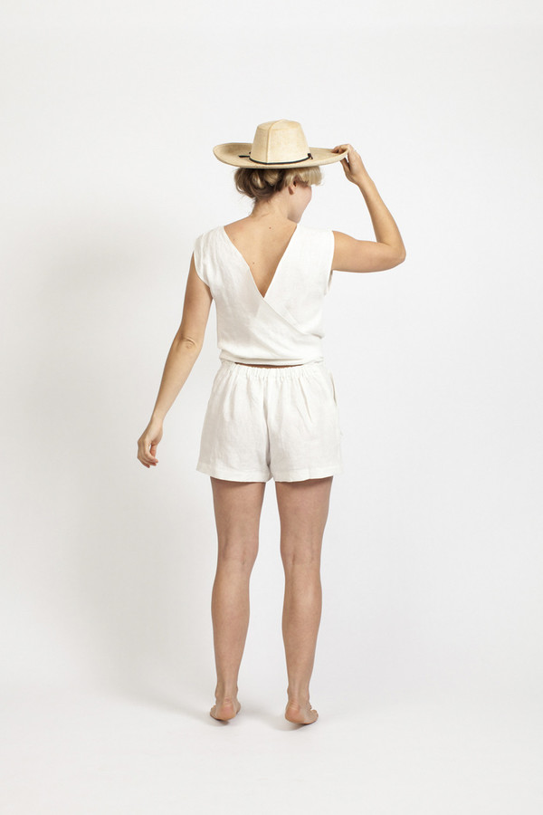 Ozma Tie Romper - White