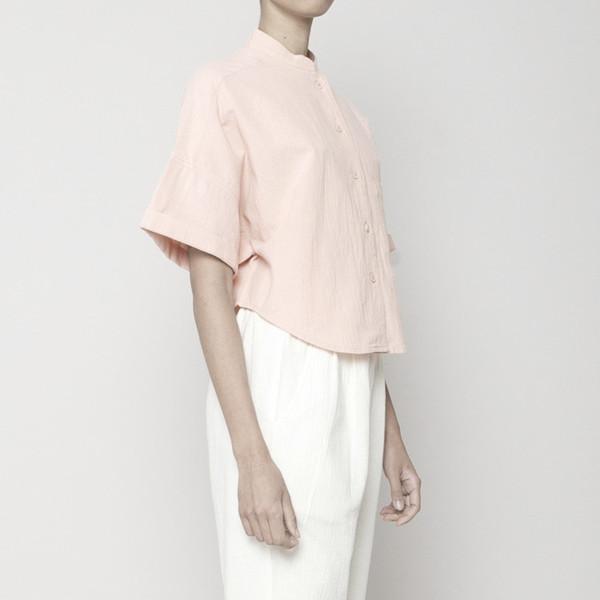 7115 by Szeki Pocket Cropped Shirt- Blush SS16