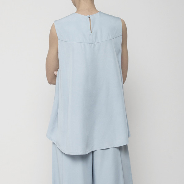 7115 by Szeki Sleeveless Tent Top- Sky Blue SS16