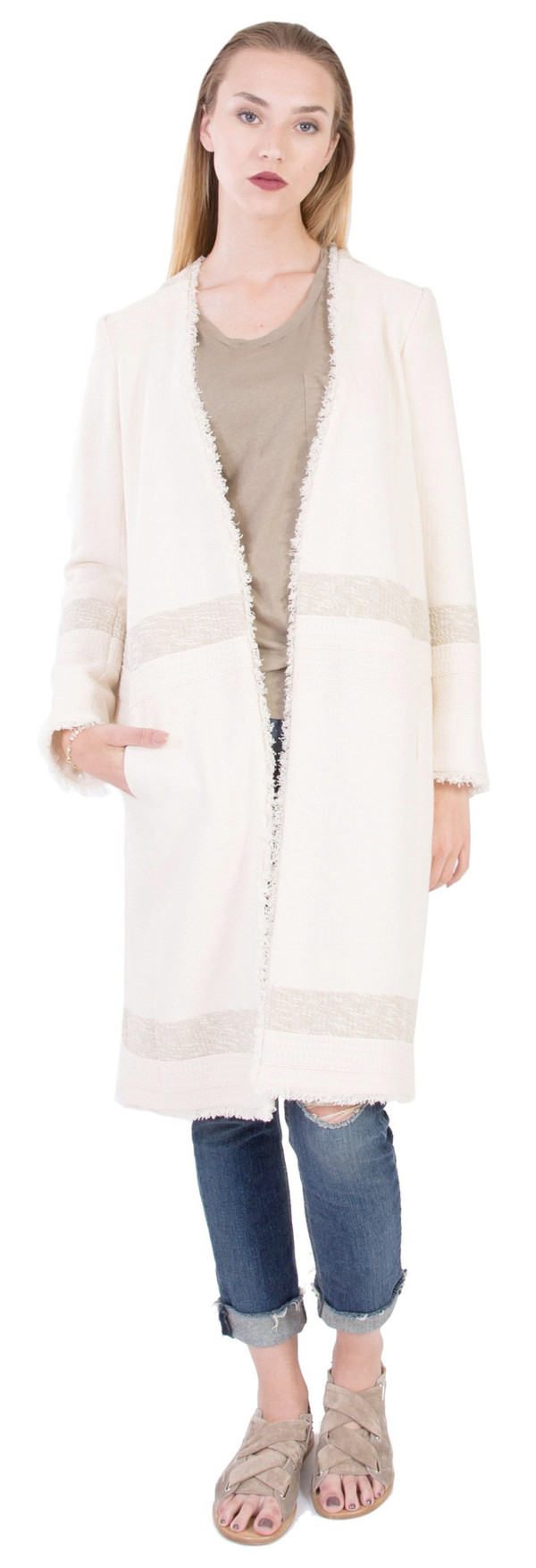 Hoss Intropia Frayed Edges Coat