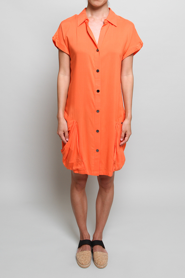 Chalayan Bag Pocket Dress in Sunset Orange