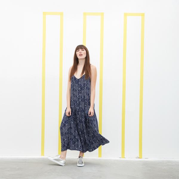 Ali Golden DROP-WAIST DRESS - NAVY PRINT