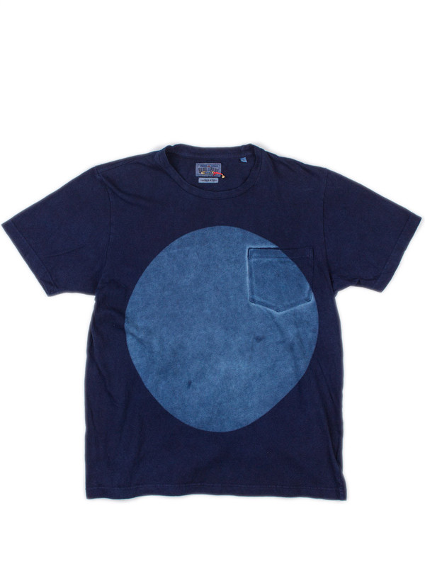 Men's Blue Blue Japan Indigo Hand Dyed Big Circle Slub Cotton SS Tee