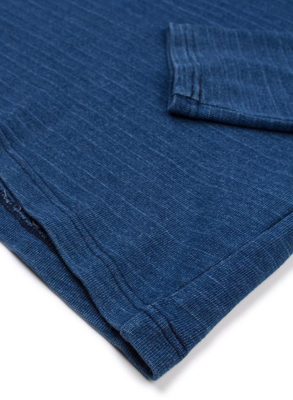 Men's Blue Blue Japan Knitted Indigo Heavy Cotton Jersey Basque LS Tee