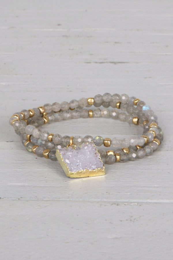 Mickey Lynn ML7471 Three Strand Druzy Bracelet
