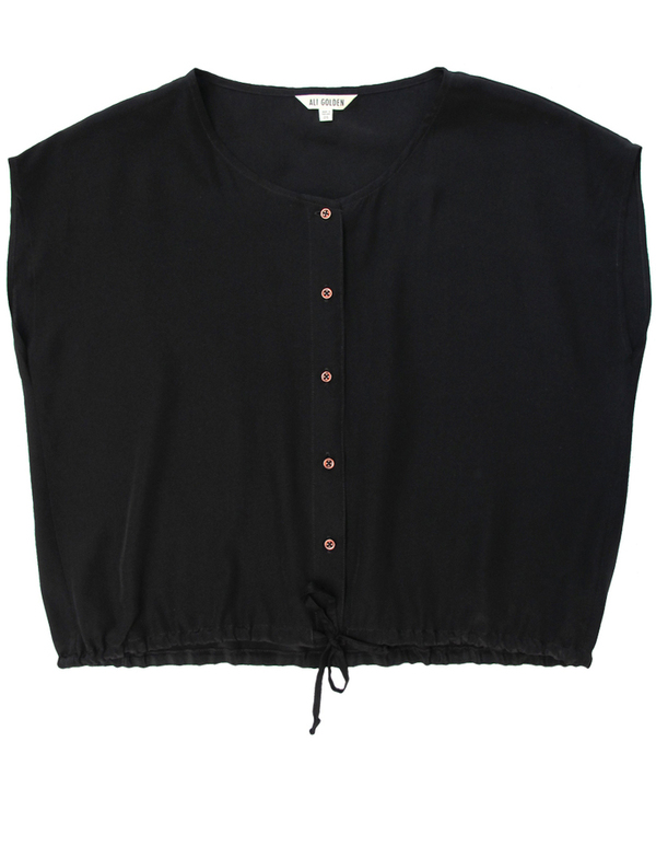 Ali Golden Black Drawstring Hem Shirt