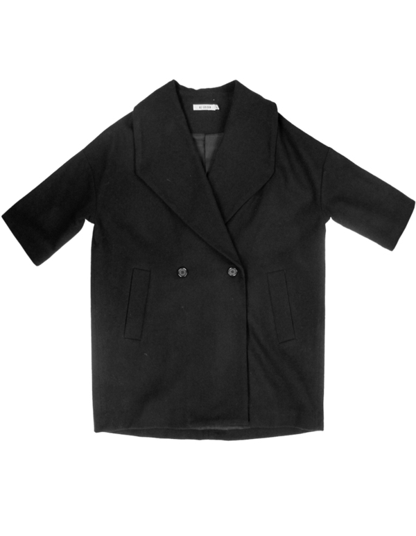 Ali Golden Black Shawl Collar Coat