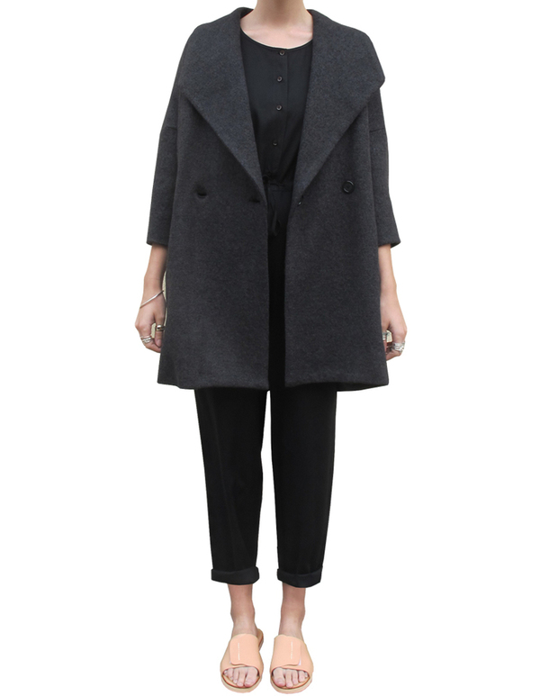 Ali Golden Navy and Black Shawl Collar Coat