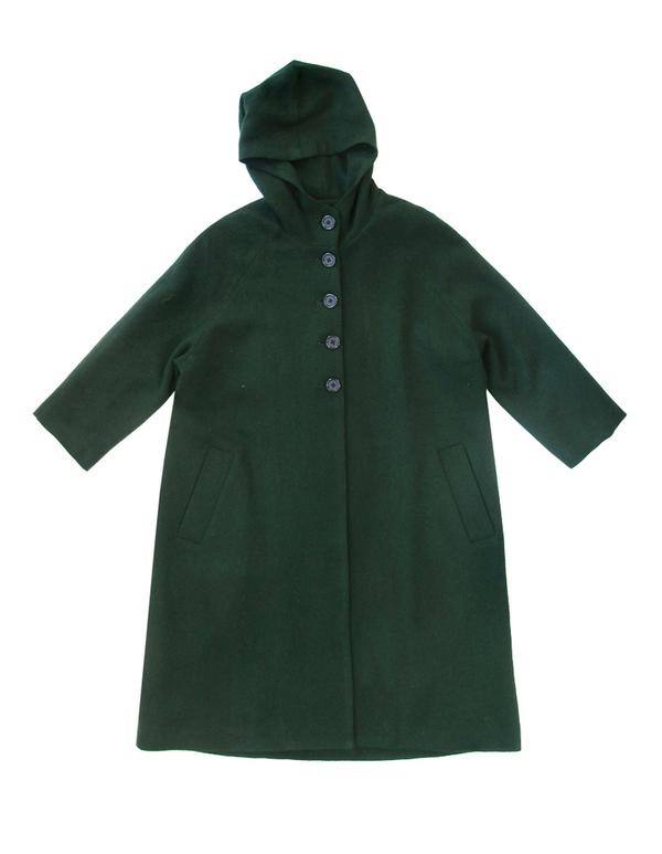Ali Golden Green Hooded Wool Coat