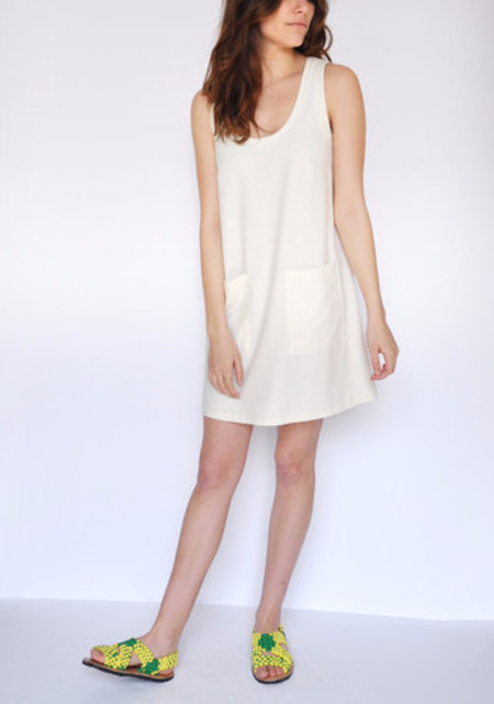 Dusen Dusen Ivory Pocket Tank Dress