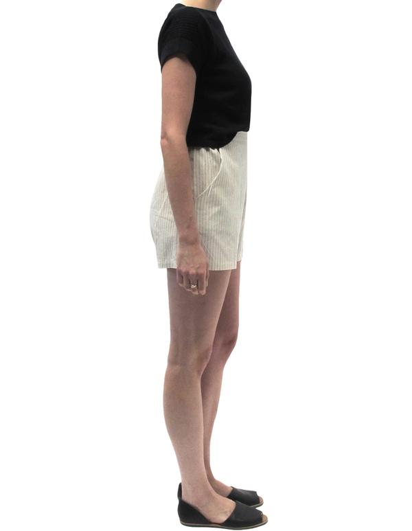 Ali Golden Cream Stripe Shorts