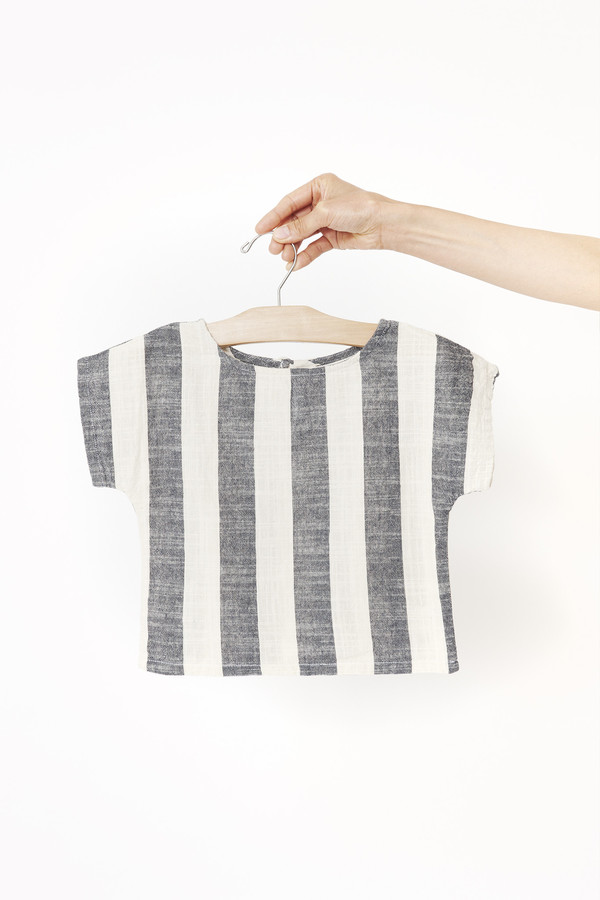 Black Crane Kids Linen Square Top