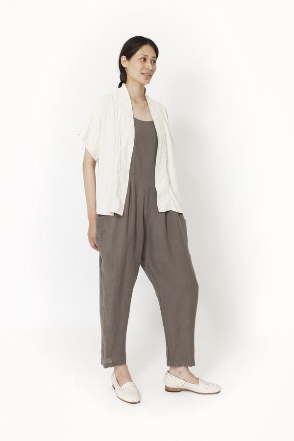 Black Crane Kimono Jacket (Cream)