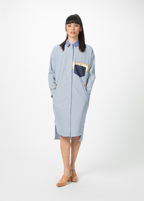 Odeeh Shirtdress with Gold Trim