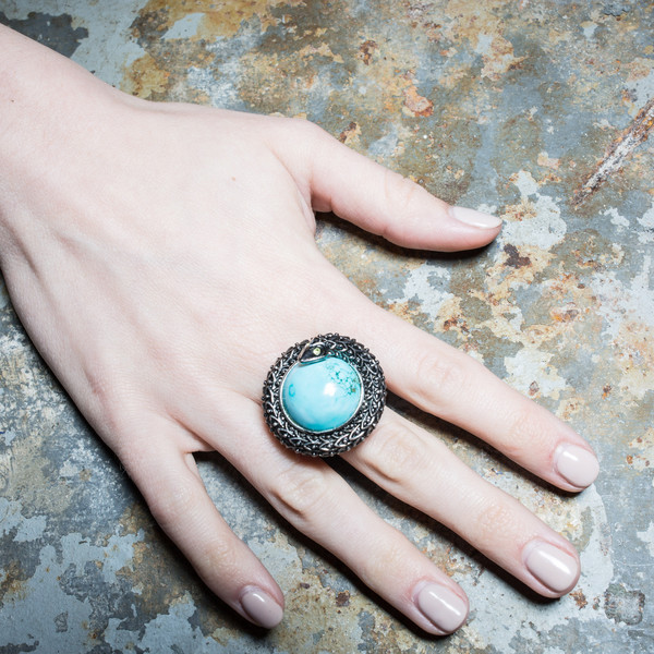 Serpent Turquoise Ring