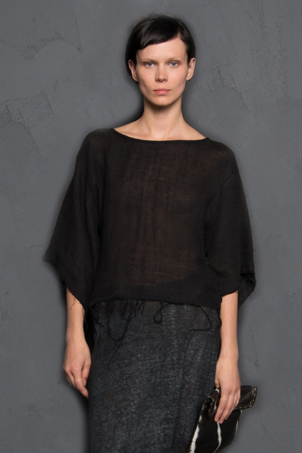 KES Cropped Frayed Top