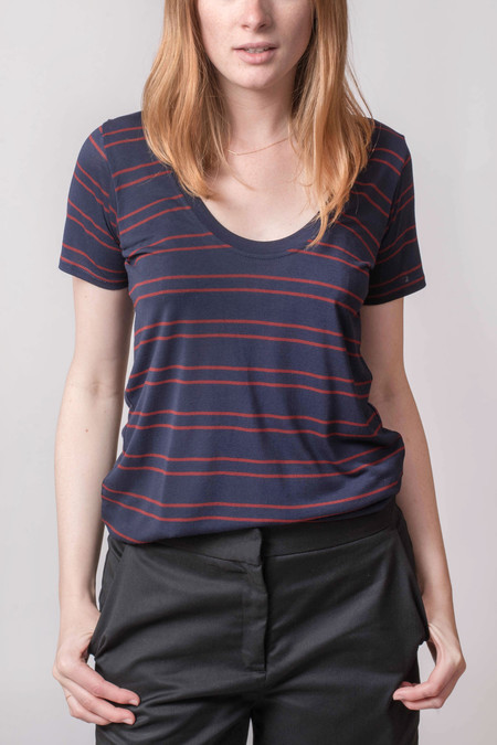 The Lady & the Sailor Basic Tee Scarlet Stripe