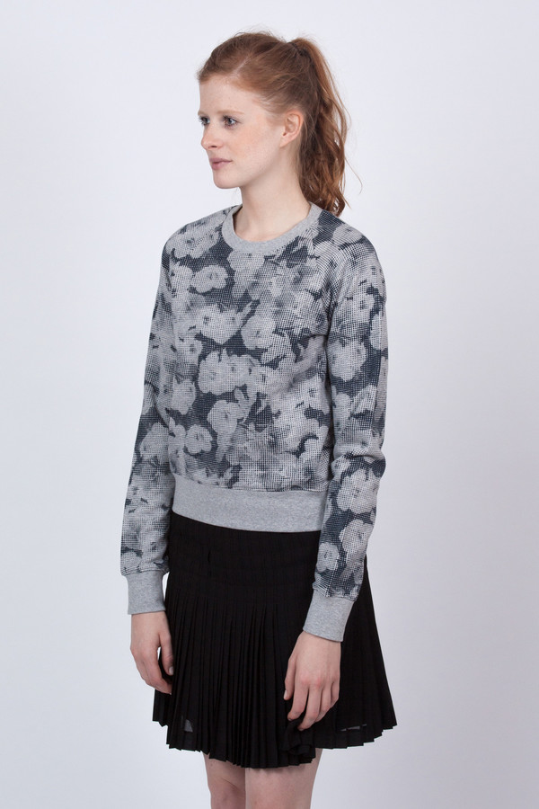 YMC Floral Print Look Back Sweatshirt