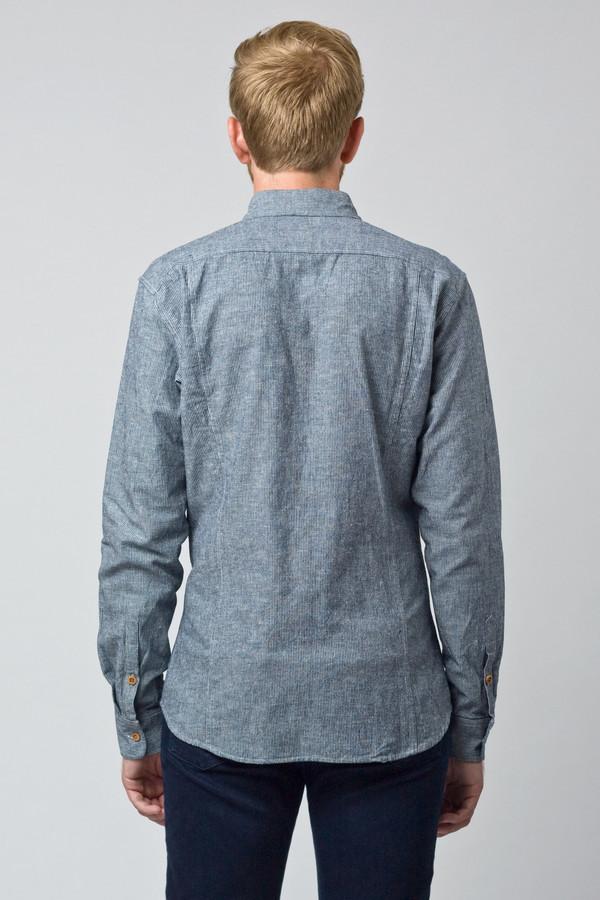Men's Corridor Linen Pinstripe Long Sleeve Shirt