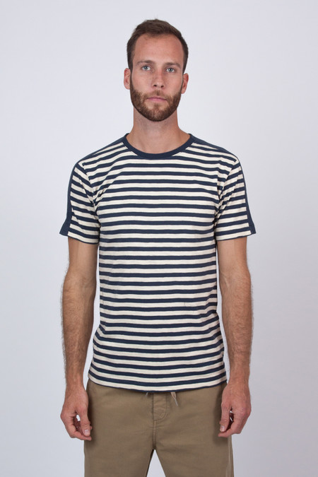 Men's YMC Navy Panel Stripe Tee