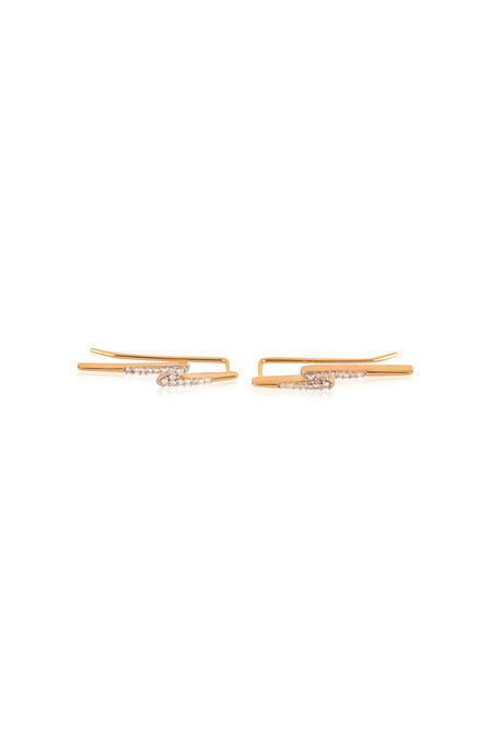 Adina Reyter Pave Lightning Bolt Wing Earrings 14k Yellow Gold White Diamonds