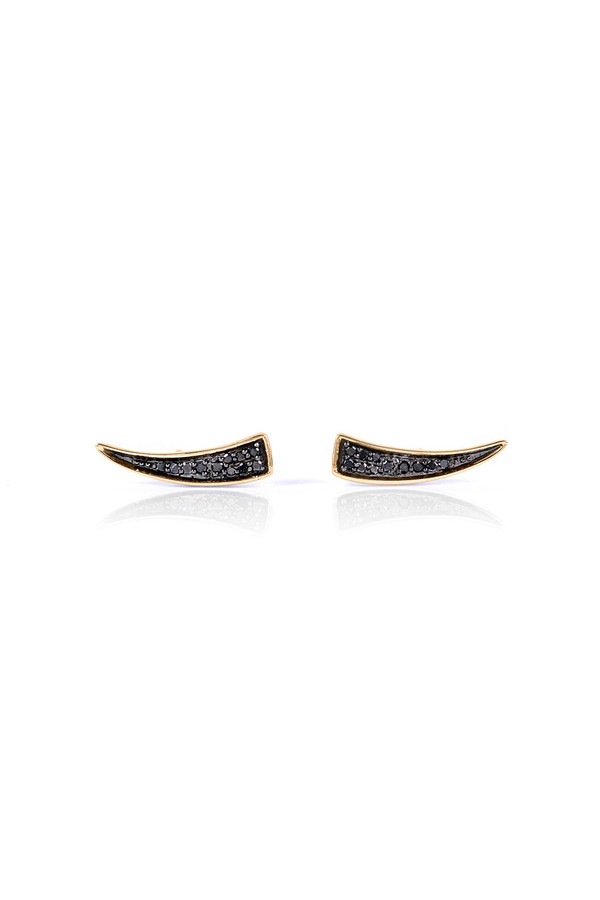 Small Pave Tusk Posts 14k Black Diamonds