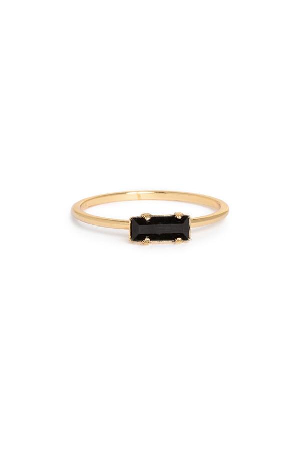 Bing Bang NYC Tiny Baguette Ring Yellow Gold / Jet Swarovski