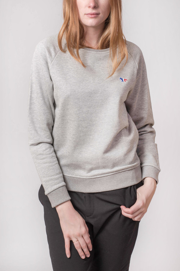 Maison Kitsune Tri Color Patch Sweatshirt