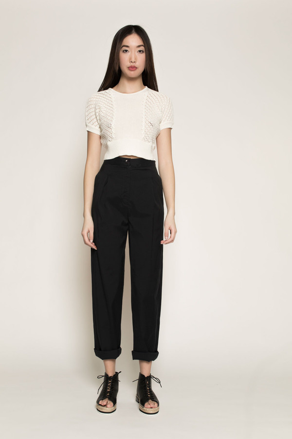 Kurt Lyle Betty Crop Sweater in Almost White
