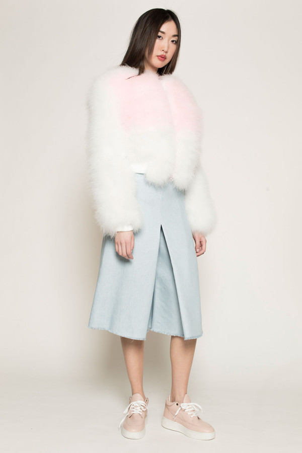 Maryme-Jimmypaul Feather Bomber Jacket in Pink/White
