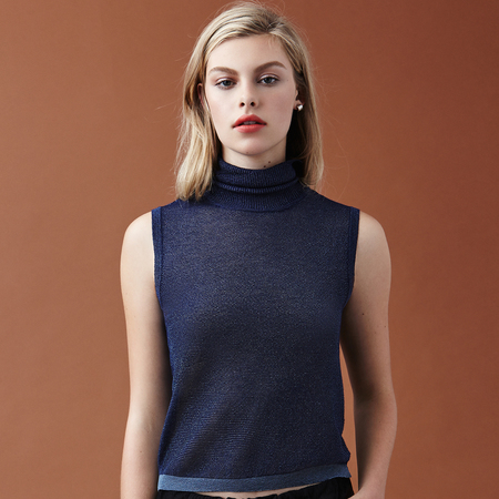 Nikki Chasin Brandy Sparkle Turtleneck - Navy
