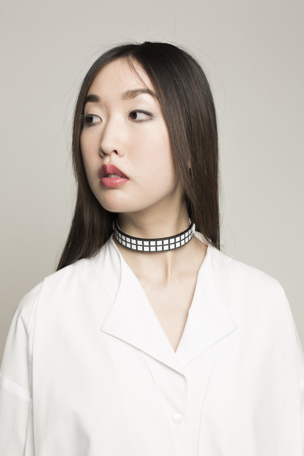 I STILL LOVE YOU NYC Grid Choker in Black/White