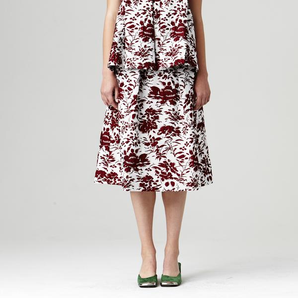 Nikki Chasin Chase Midi Fete Skirt - Floral Jacquard