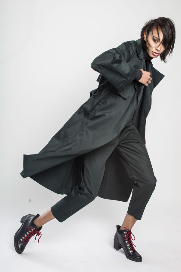 KOWTOW Keepsake Trench Coat in Dark Green